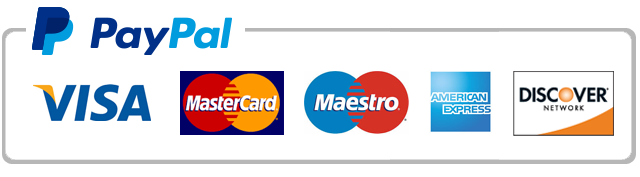 PayPal payment methods: Visa, MasterCard, Maestro, American Express, Discover Network